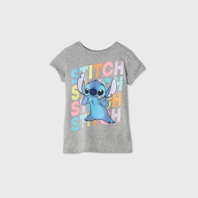 Girls' Disney Stitch Short Sleeve Graphic T-Shirt - Gray