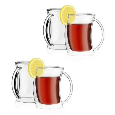 JoyJolt Caleo Collection Glass Coffee Cups - Set of 4 Double Wall Insulated Mug Glasses  - 10-Ounces