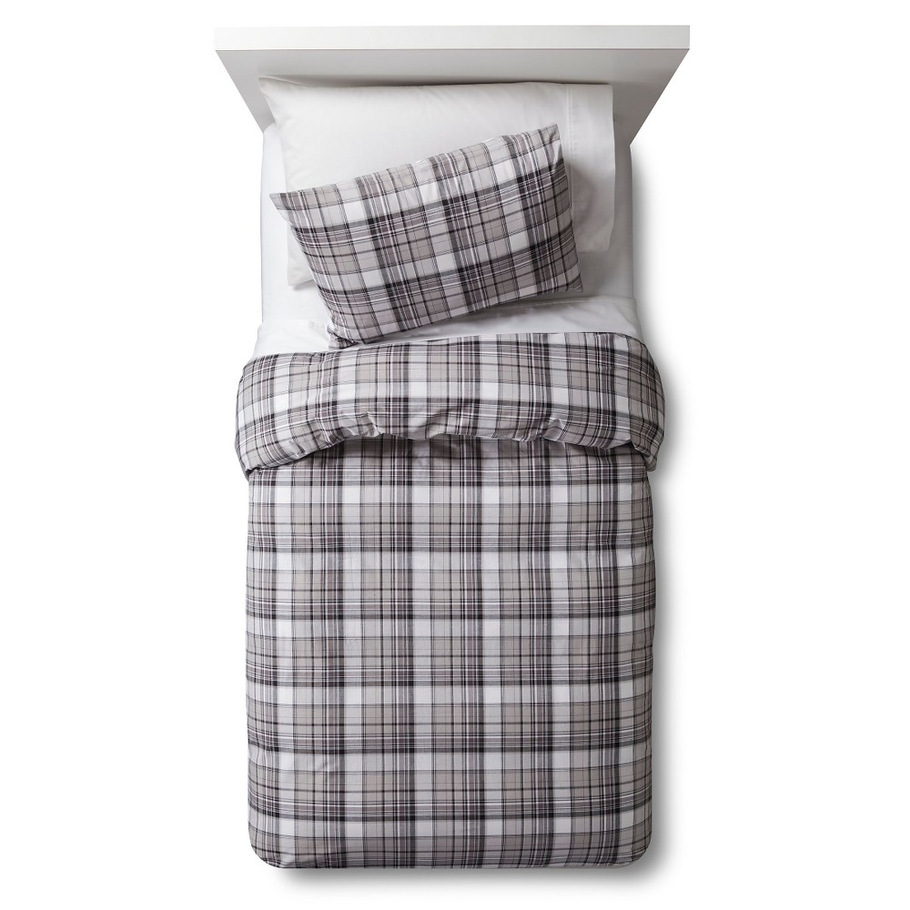 Woven Plaid Duvet Cover Set - Full/Queen - Gray - 3 pc - Pillowfort, Zig Zag Gray