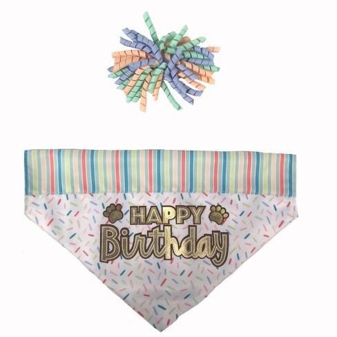 Happy Birthday Bandana With Curly Slide Dog Costume Sets