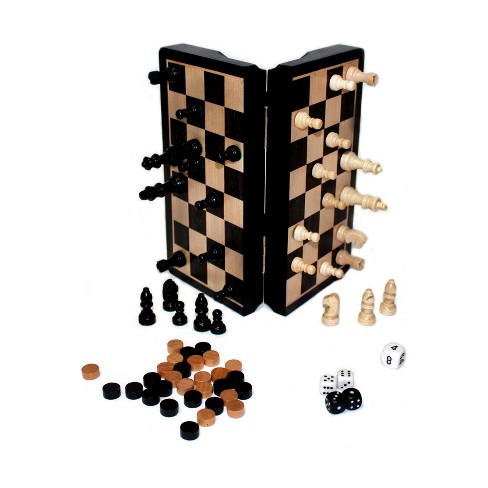 "John N. Hansen Co. Classic Game Collection - 8"" Magnetic Dark Wood 3 in 1 Game Set - image 1 of 2"