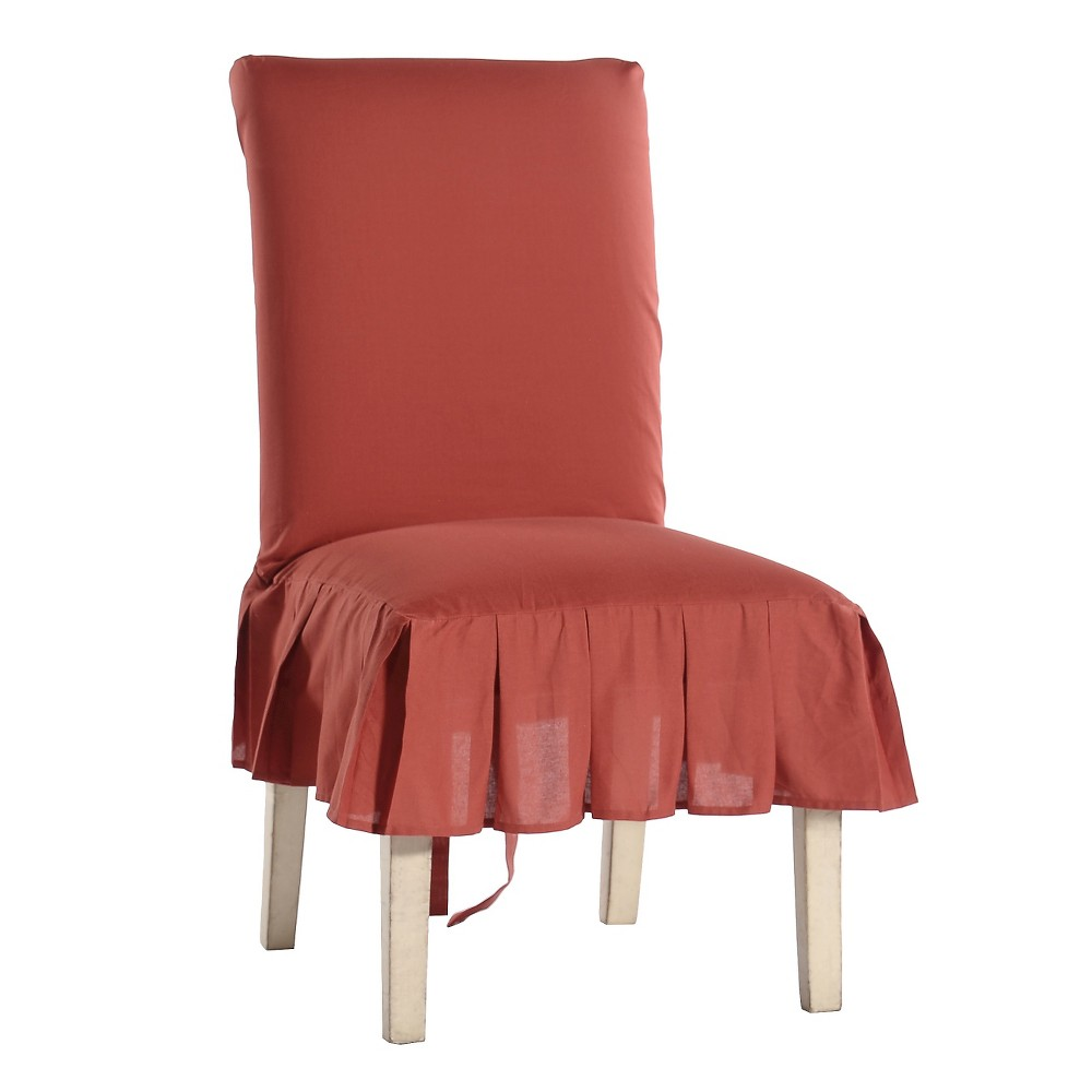 Image of Red Cotton Duck Pleated Dining Chair Slipcover