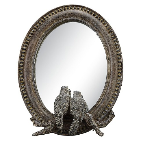 Round Freestanding Decorative Wall Mirror with Bird - 3R Studios - image 1 of 2