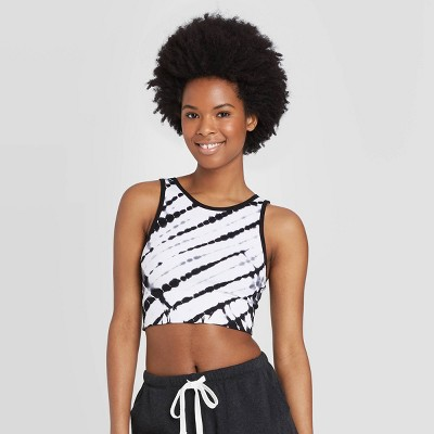Women's High Neck Bralette - Colsie™ Black/White Tie-Dye