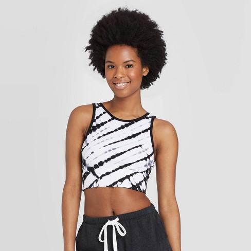 Women's High Neck Bralette - Colsie™ Black/White Tie-Dye - image 1 of 3