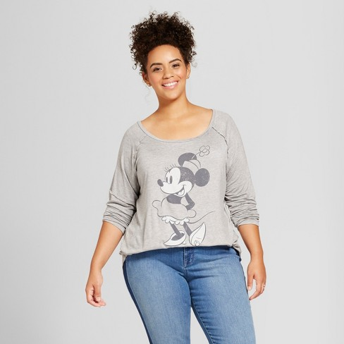 460f966e Women's Plus Size Disney Minnie Mouse Long Sleeve Drapey Graphic T-Shirt ( Juniors') - Gray 1X : Target