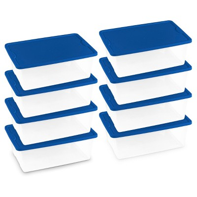 Homz® 12qt Storage Totes, Set of 8, Clear/Blue