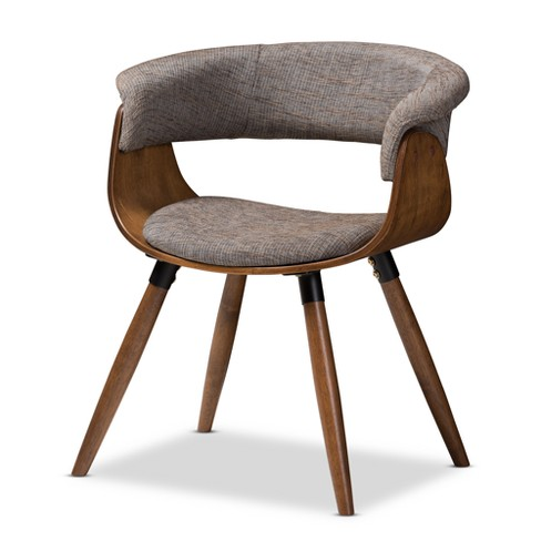 Awesome Baxton Studio Bryce Mid Century Modern Walnut Finished Wood Upholstered Bent Wood Dining Chair Gravel Brown Machost Co Dining Chair Design Ideas Machostcouk