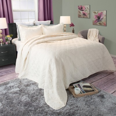 Andrea Embroidered Quilt Set (King)Beige 3pc - Yorkshire Home®