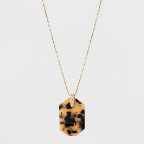 SUGARFIX by BaubleBar Graphic Resin Pendant Necklace - Tortoise - image 1 of 3