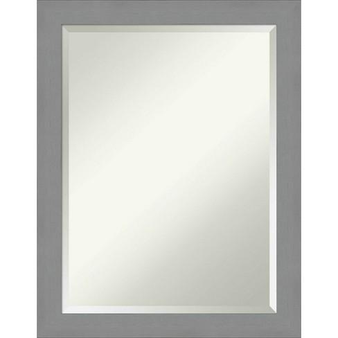 22 X 28 Brushed Nickel Framed Bathroom Vanity Wall Mirror Amanti Art Target