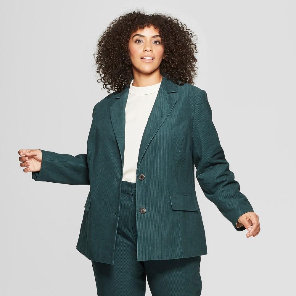Women's Plus Size Corduroy Blazer - Who What Wear Green 4X