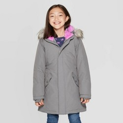 Girls' Faux Fur Hooded Parka Jacket - Cat & Jack™ Gray