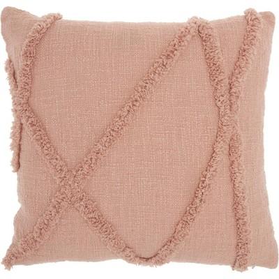"""18""""x18"""" Distressed Diamond Square Throw Pillow Blush - Nourison"""
