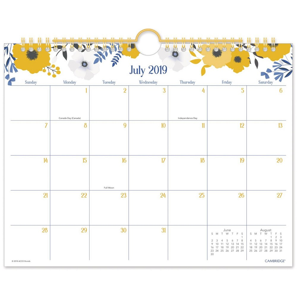 2019-2020 Academic Wall Calendar Yellow/White - Cambridge, Multi-Colored