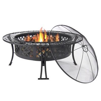 "Diamond Weave 40"" Wood Burning Fire Pit Bowl - Sunnydaze Decor"