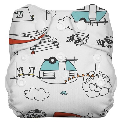 Thirsties Natural All-in-One Snap Diaper, Newborn - Happy Camper