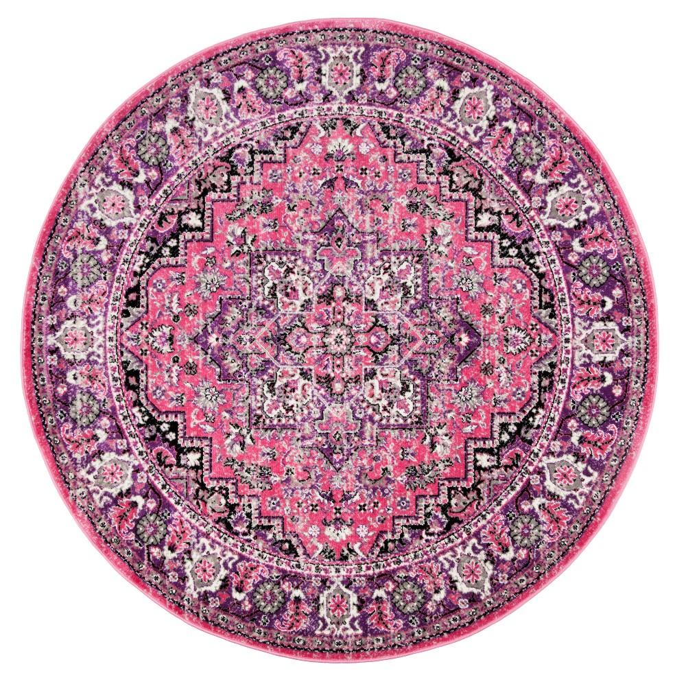 Pink/Ivory Medallion Loomed Round Area Rug 6'7 - Safavieh