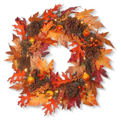 24  Maple Wreath with Clear Lights - National Tree Company