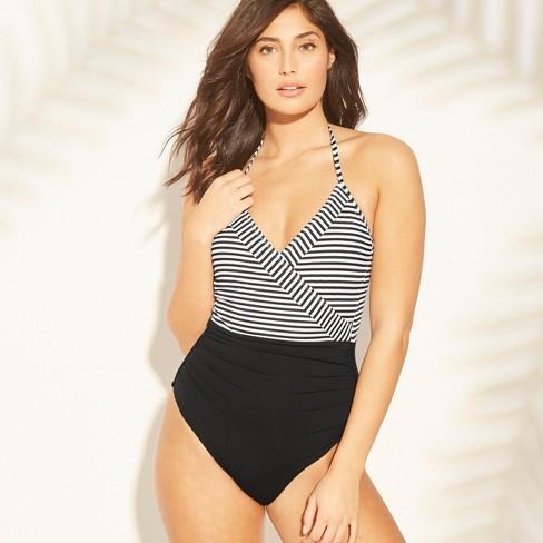 9fbf4991ec Sunn Lab Women s Striped Halter Wrap One Piece Swimsuit   Target