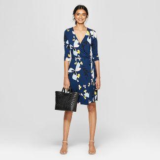 009faf0520d Women s Floral Print Slim Fit 3 4 Sleeve V-Neck Knit Wrap Dress – A ...