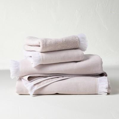 4pc Decorative Flat Woven Bath Towel Set Sand - Casaluna™