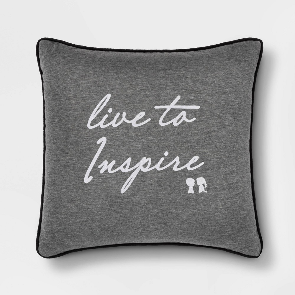 "Image of ""Boy Meets Girl Live to Inspire 18""""x18"""" Throw Pillow, Gray"""