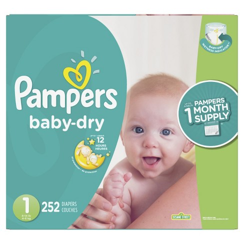 Pampers Baby Dry Disposable Diapers One Month Supply - <br> (Select Size) - image 1 of 6