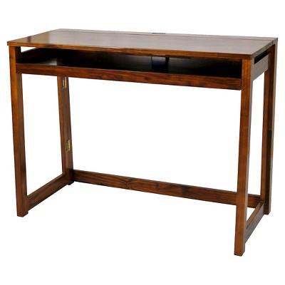 Folding Computer Desk with 4 Port USB Charging Station Walnut - Flora Home