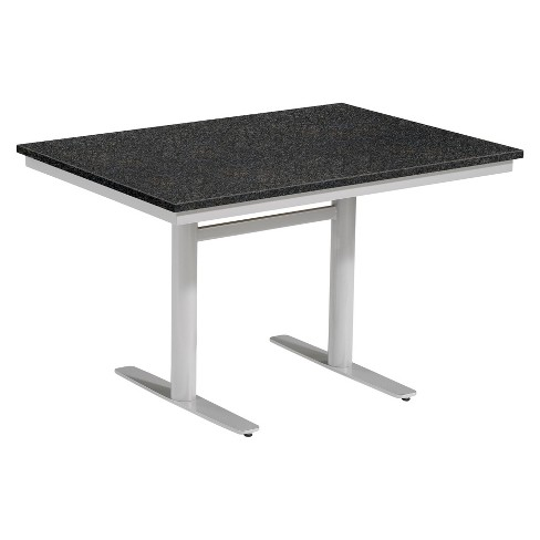 "Travira 34""x48"" Rectangular Patio Dining Table - Powder Coated Steel Frame - Lite-Core Granite Charcoal Top - Oxford Garden - image 1 of 1"