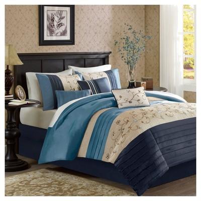 Navy Monroe Pieced Comforter Set (Queen)7pc