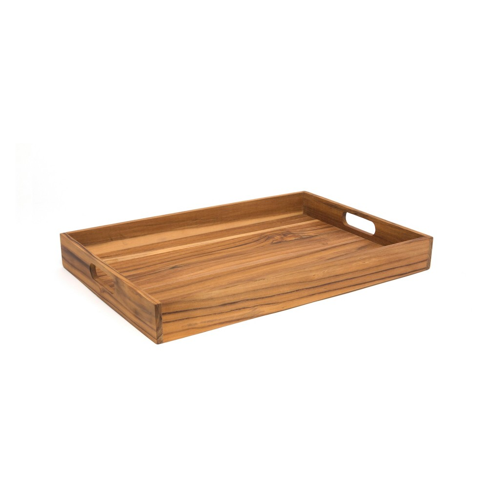 Lipper International Large Teak Tray with Cut Out Handles, Wood