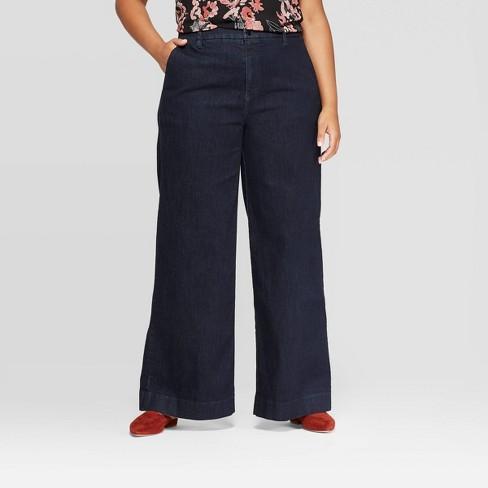 Women's Plus Size Wide Leg Denim Pants - A New Day™ - image 1 of 3