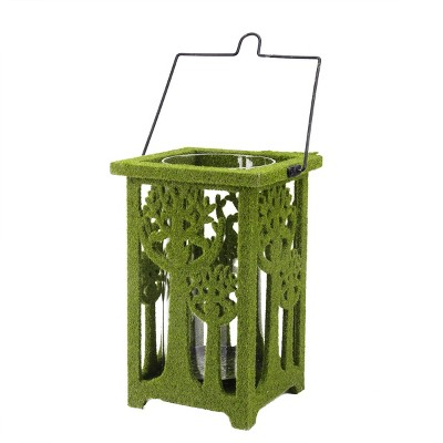 """Allstate Floral 13.75"""" Green Moss Covered Tree Cut-Out Pillar Candle Lantern"""