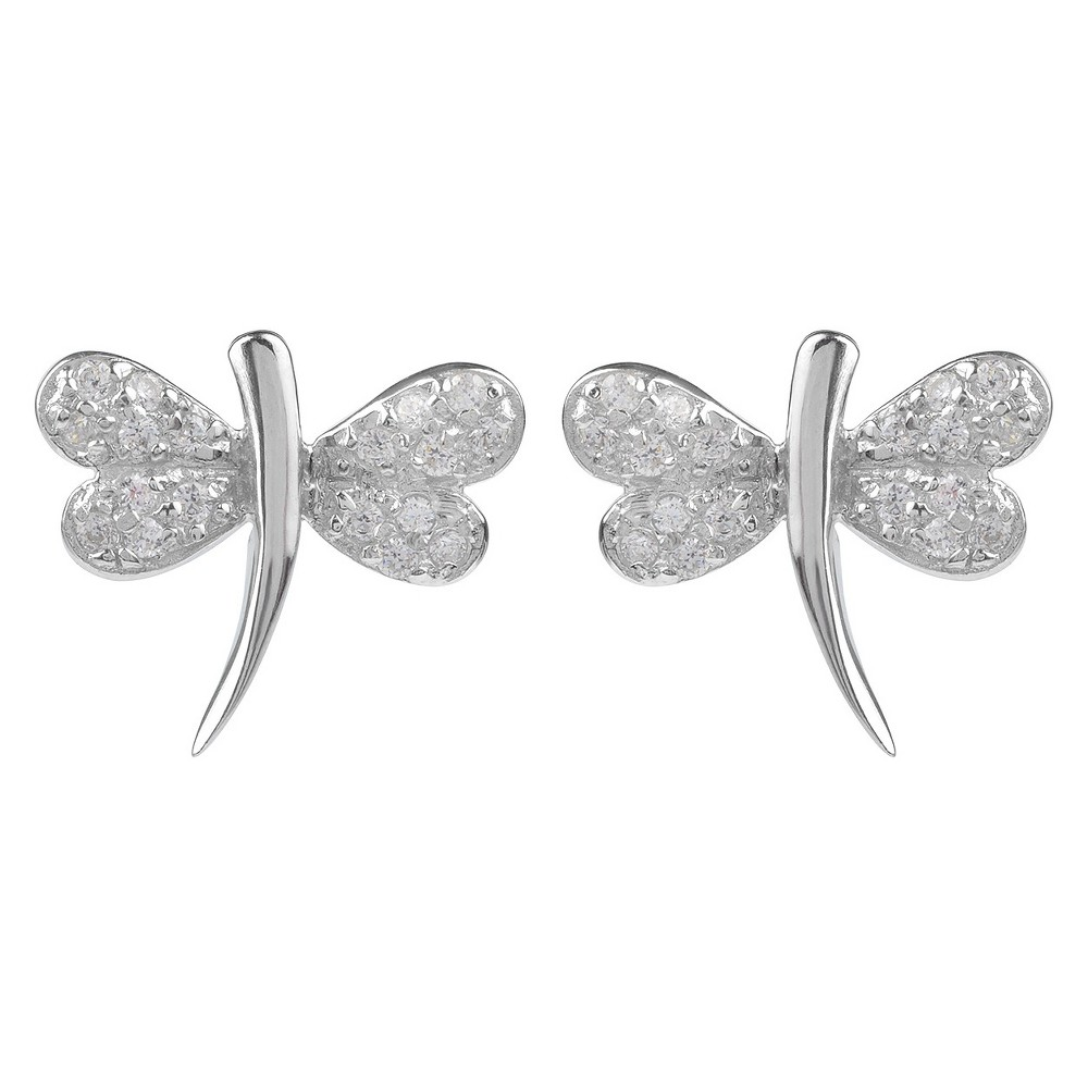3/8 CT. T.W. Round-cut CZ Petite Dragonfly Stud Pave Set Earrings in Sterling Silver - Silver, Girl's