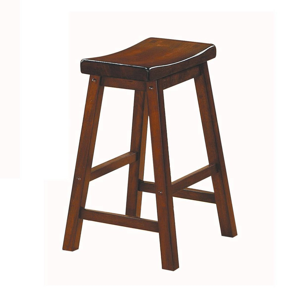 "Image of ""24"""" Set of 2 Wooden Counter Height Stool with Saddle Seat Brown - Benzara"""