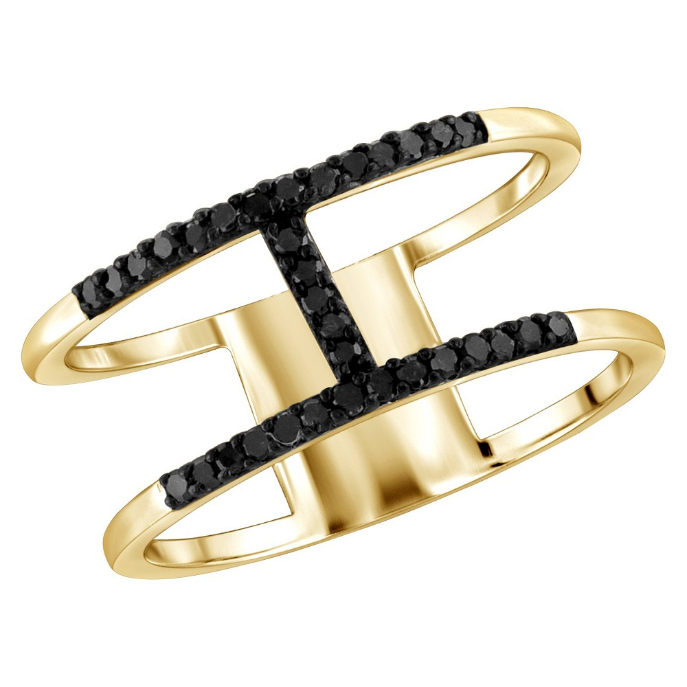 "Image of ""1/10 CT. T.W. Round-Cut Black Diamond Prong Set H Ring in Sterling Silver - Yellow (8)"""", Women's"""