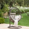 Layla Wicker Hanging Basket Chair Khaki - Christopher Knight Home - image 2 of 4