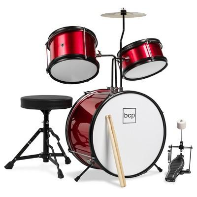 Best Choice Products Kids Beginner 3-Piece Drum, Musical Instrument Set w/ Sticks, Cushioned Stool, Drum Pedal