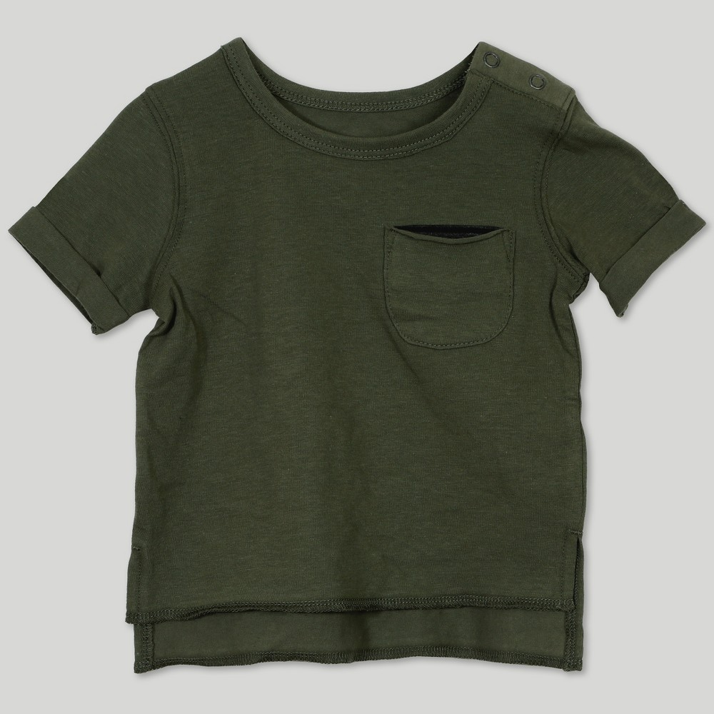 Afton Street Baby Boys' High Low Short Sleeve T-Shirt - Green 12M