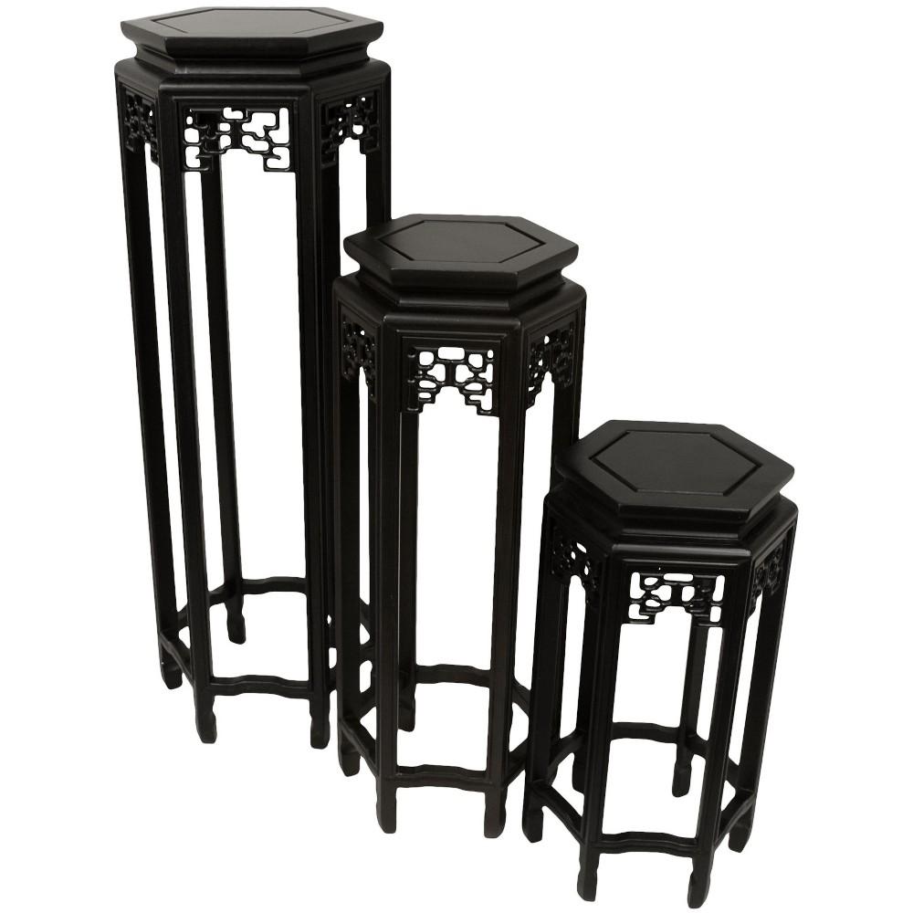 Set Of Three Stands - Oriental Furniture, Black