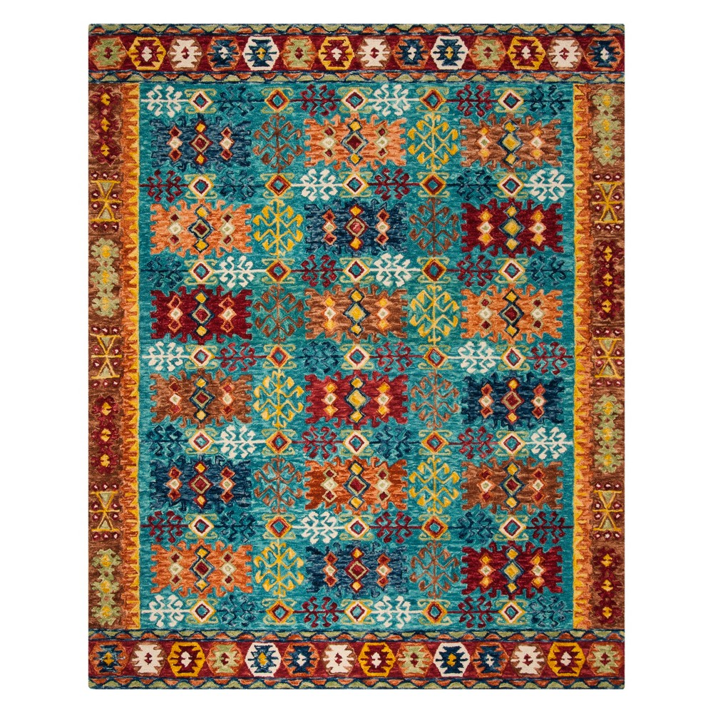 8'X10' Tribal Design Tufted Area Rug Blue/Red - Safavieh, Red Blue