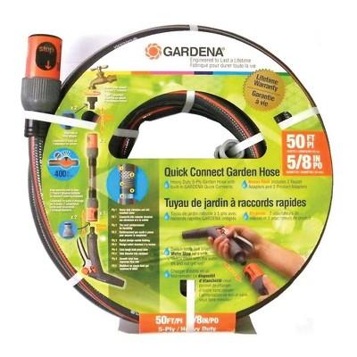 Gardena 5/8 Inch Diameter 50 Foot Comfort Quick Connect Heavy Duty Garden Hose