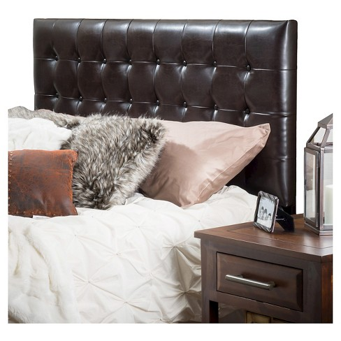 Austin Tufted Bonded Leather Headboard King California Brown Christopher Knight Home
