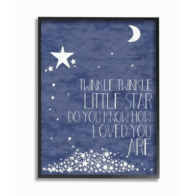 """16""""x1.5""""x 20"""" Textural Twinkle Little Star Typography Oversized Framed Giclee Texturized Art - Stupell Industries"""