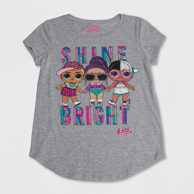Girls' L.O.L. Surprise! 'Shine Bright' Short Sleeve Graphic T-Shirt - Gray
