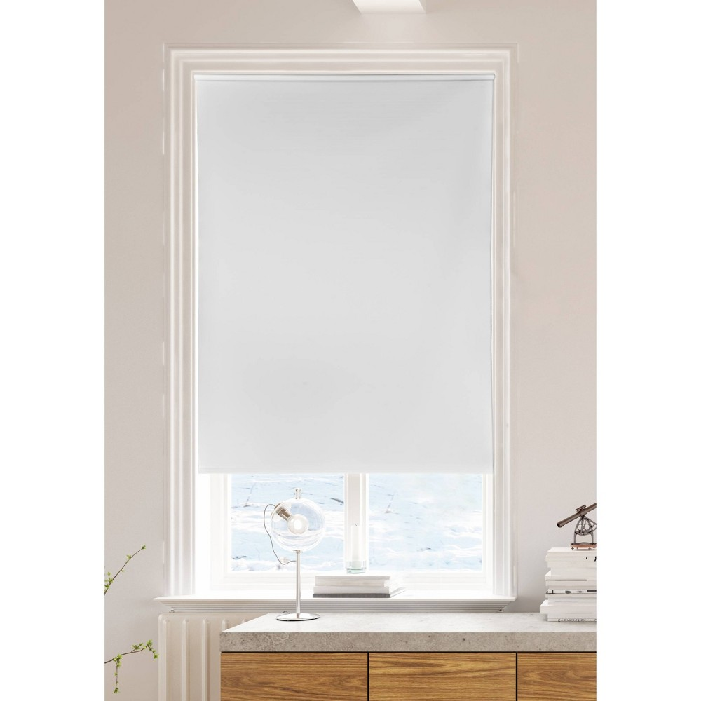 "Image of ""55""""x72"""" Vinyl Roller Blind Convolute 12G Room Darkening Panel Window Shade White - Lumi, Size: 55x72"""