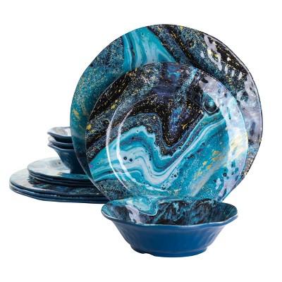Gibson Home Elixir 12 Piece Melamine Dinnerware Set in Blue