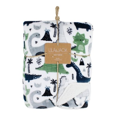 Lila and Jack Baby Blanket Dino Flannel Sherpa Throw