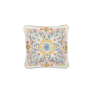 """Waverly 18""""x18"""" Artisanal Embroidered Throw Pillow Mineral"""